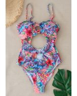 O-Ring Tropical Printed One-Piece Swimsuit in Pink
