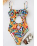 O-Ring Tropical Printed One-Piece Swimsuit in Yellow