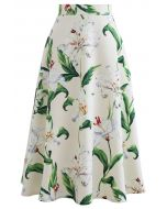 Gorgeous Floral Print A-Line Midi Skirt in Green