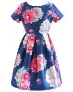 Splendid Flower Short-Sleeve Pleated Dress