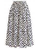 Lovely Heart Print Cotton Midi Skirt in Ivory