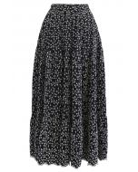 Embroidered Floret Frilling Cotton Skirt in Black