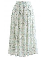Minty Floral Print Embroidered Eyelet Pleated Skirt
