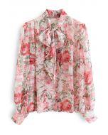 Misty Rose Tie Neck Button Down Sheer Shirt