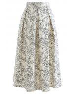 Sketch Rose Pleated Midi Skirt