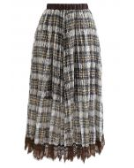 Plaid Print Lacy Pleated Skirt in Yellow