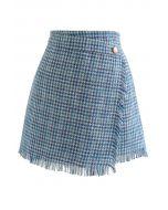 Tasseled Houndstooth Tweed Mini Flap Skirt in Blue