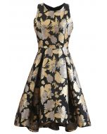 Golden Bouquets Jacquard Waterfall Sleeveless Dress