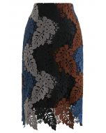 Multi-Color Leaves Crochet Pencil Skirt in Smoke