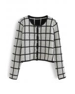Honeycomb Knit Grid Cropped Cardigan in White