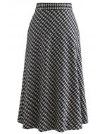 Houndstooth Flare A-Line Midi Skirt in Black