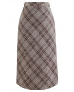 Check Print Wool-Blend Pencil Skirt in Taupe