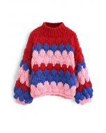 Color Blocked High Neck Hand-Knit Chunky Sweater in Red