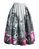 Tulip Town Contrast Print Pleated Midi Skirt