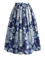 Endearing Rose Print Midi Skirt