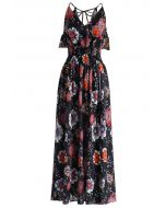 Sweet Aroma Floral Maxi Dress in Black