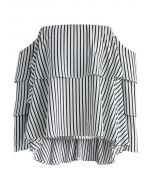 Striped Off-shoulder Top with Tiered Flare Sleeves