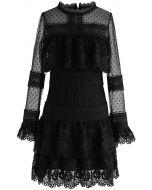 Sweet Destiny Tiered Crochet Mesh Dress in Black