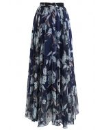 Flower Season Chiffon Maxi Skirt in Navy