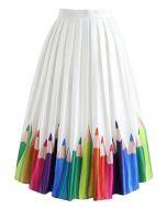Colorful Pencil Illustration Printed Midi Skirt