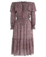 Swirl in Love Off-Shoulder Chiffon Midi Dress in Wine
