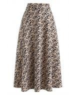 Leopard Print Faux Suede Midi Skirt