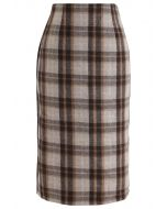 Split Hem Brown Plaid Pencil Midi Skirt