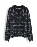Plaid Loose Fuzzy Knit Sweater in Black