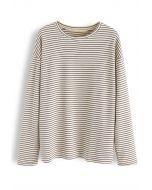 Brown Stripe Loose Sweatshirt
