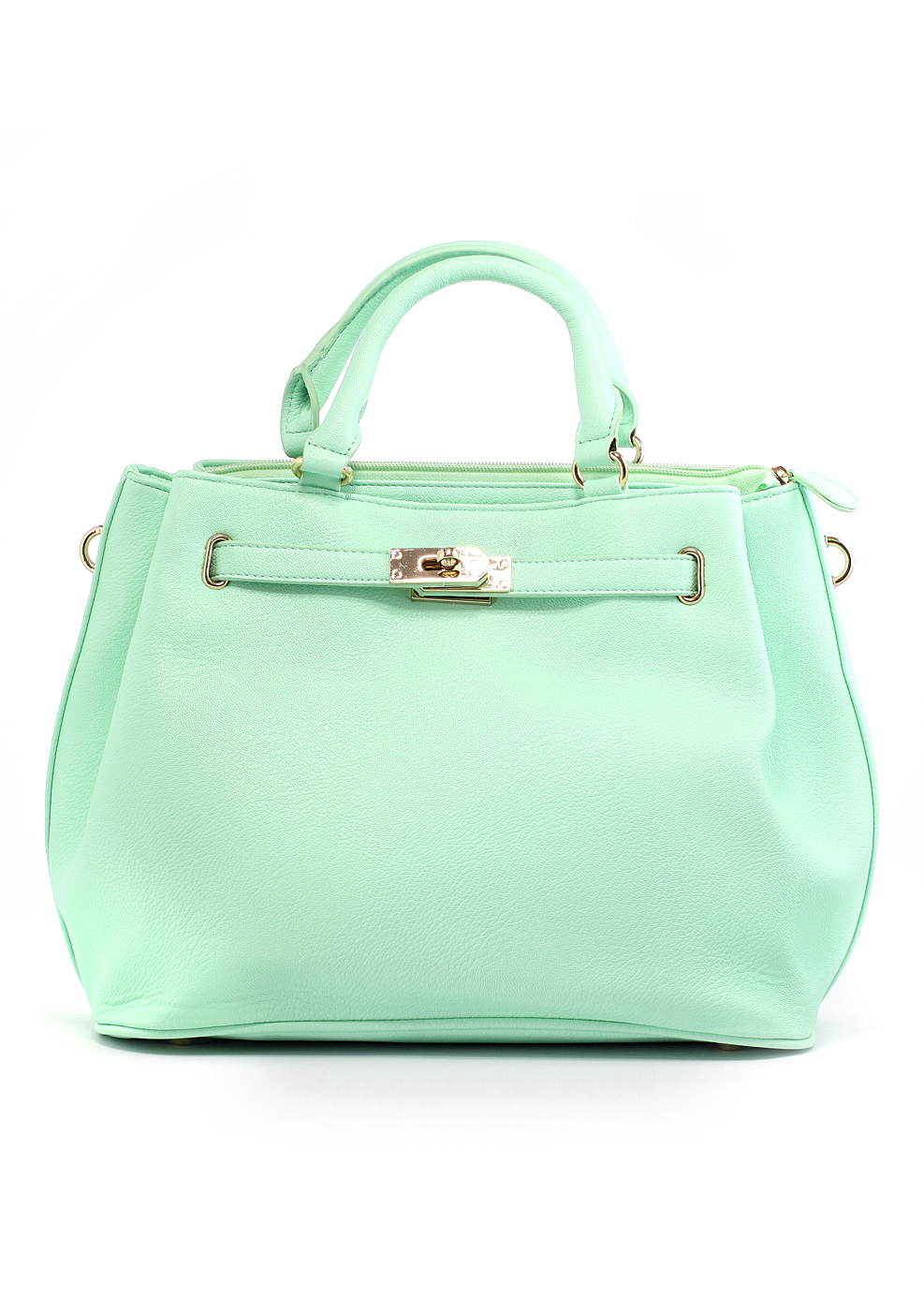 Mint Front Lock Shoulder Bag by Chic+